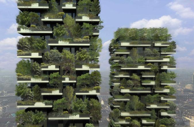 """""""垂直森林""""希望能在寸土寸金的城市里将平铺的森林竖立起来,营造一个把自然引入建筑、将建筑融入自然的和"""
