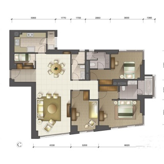 1-3号楼标准层C户型