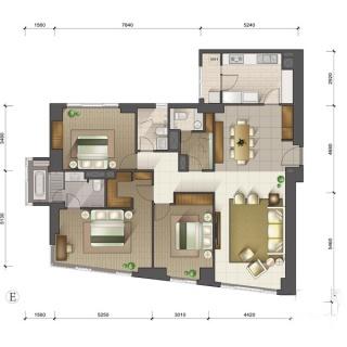 1-3号楼标准层E户型