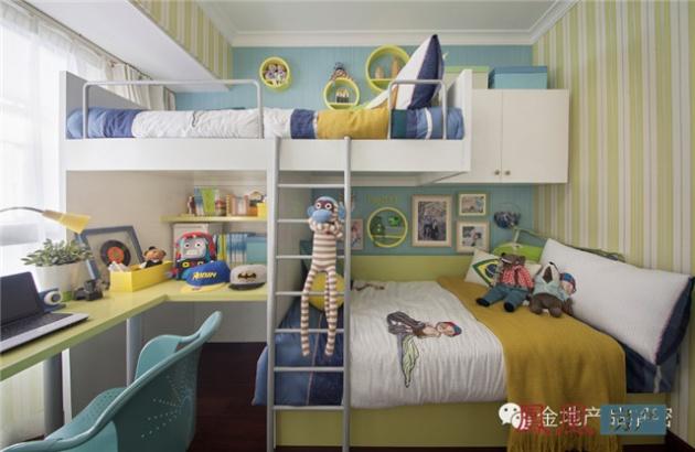 考虑到双子女家庭的特殊需求,金地将儿童房设计为双儿童房.