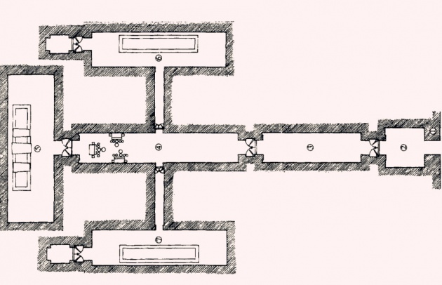 明定陵地宫结构平面图