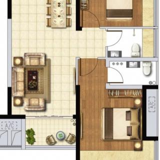 E4户型80㎡两房两厅
