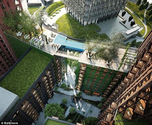 """该游泳池将充当两座居民楼之间的""""桥梁"""":住户将身着泳衣,从10层楼高的泳池中""""游到对面""""。"""
