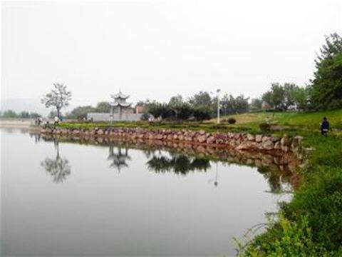 """秋风阵阵,绿柳成荫,一条宽阔的河流在两岸""""绿丝带""""的装饰下美如画卷."""