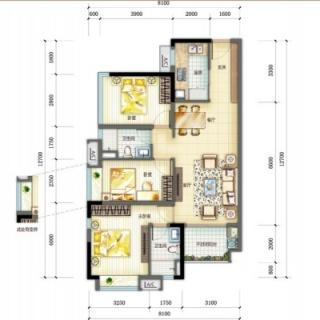 悦藏三房两厅两卫95㎡户型图