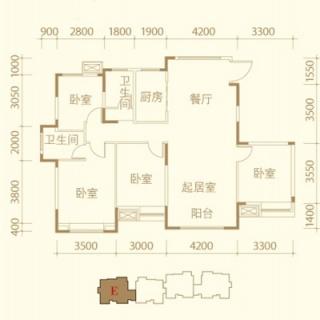 洋房标准层E户型