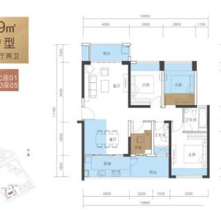 C户型89平3房2厅2卫