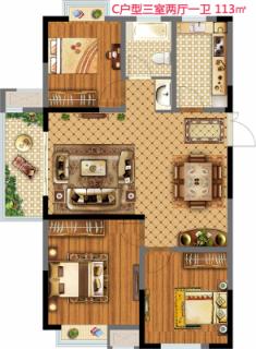 18街区C户型三室两厅一卫113平米