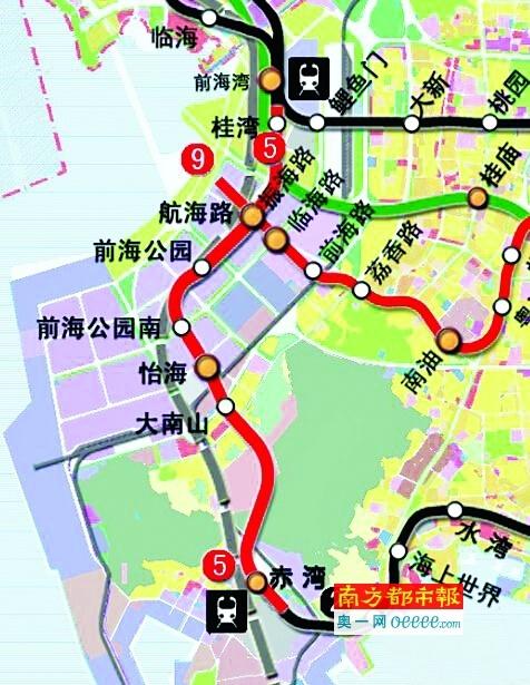 深圳地铁5号线延长线线路图.-深圳两条地铁延长线16个站点在南山辖图片