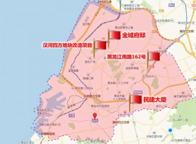 共有218套,目前正进行主体施工;连云港路76号的民建大厦项目有72套