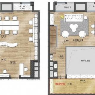 92平方米D+D户型办公室
