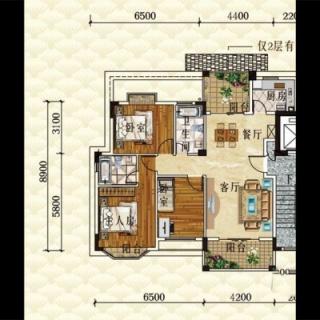 洋房E1栋标准层户型图01