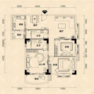 E栋04单元户型图
