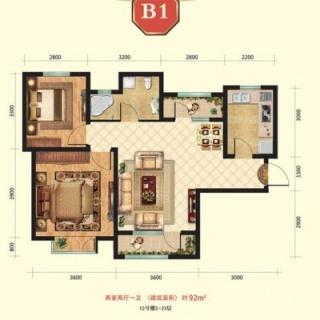 高层12号楼2-23层B1户型