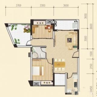 多层两房两厅户型3