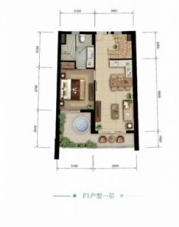 海景公寓 F1一层户型图