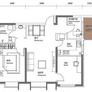 二期5、9#标准层中户95平小三居户