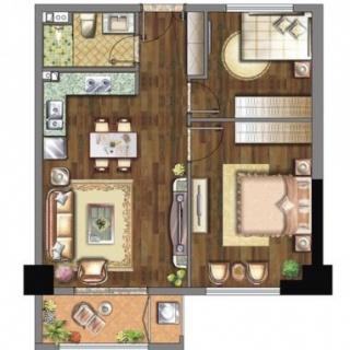 43平A户型一室一厅一厨一卫