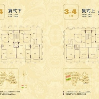 3-4号楼1-2单元顶层复式户型图