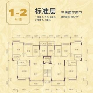 1号楼1-4单元、2号楼1-2单元标准
