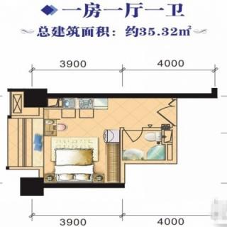 4#、8#1室1厅35.32㎡户型