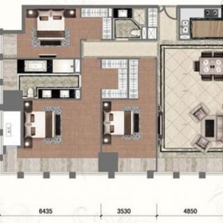 高层标准层低区3室户型