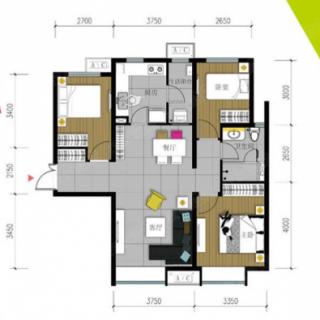 102平米三居户型图