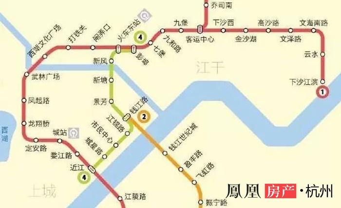 图片为杭州地铁1号线(红色)、4号线(绿色)线路图,来源于网络-图片