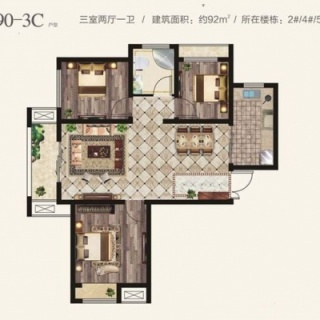 三期3室2厅1卫90-3C户型