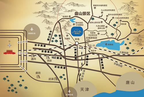 天津蓟州路由景区地图