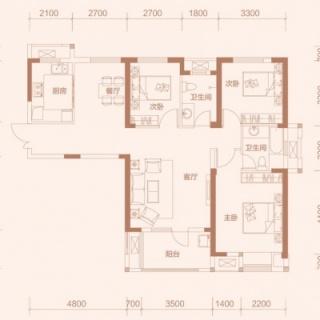 1-3户型, 3室2厅2卫, 约132.51平米