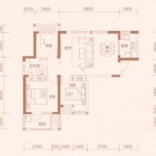 1-1户型, 3室2厅1卫, 约89.70平米