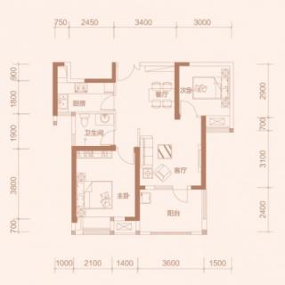 1-2'户型, 2室2厅1卫, 约88平米