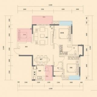 一期1-4栋标准层100平米B户型