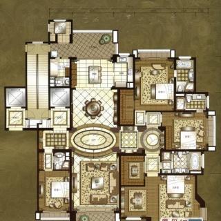 上海星河湾a1户型方案一 4室3厅4卫2厨 373.00㎡