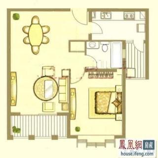 中鹰黑森林1号楼02户型 1室2厅