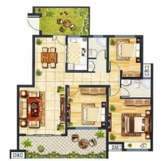 洋房户型三室两厅一厨两卫