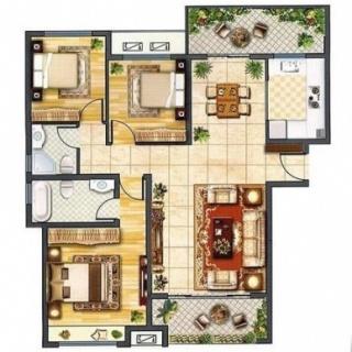 高层A户型三室两厅一厨两卫