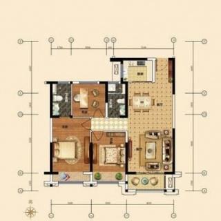 120平米三房户型