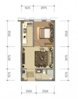 公寓6、7#标准层50平米户型
