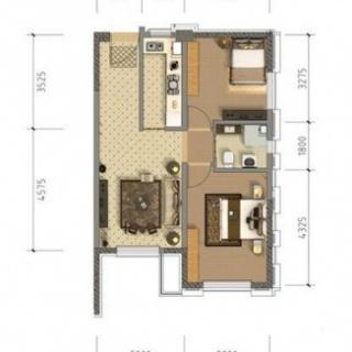 公寓6、7#标准层77平米户型