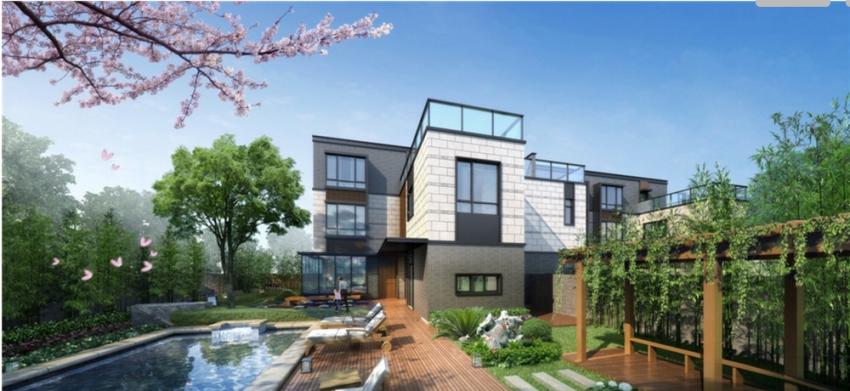 """整个社区采用新中式建筑风格,社区内景观汲取中国古典园林规划设计中"""""""