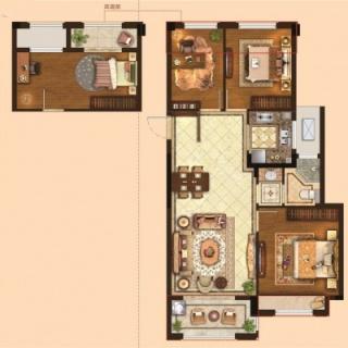 三室两厅一卫84平