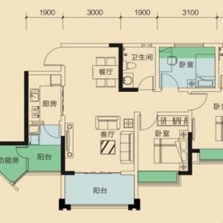 二期1号楼标准层A9户型
