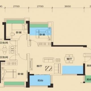 二期1号楼标准层B2户型