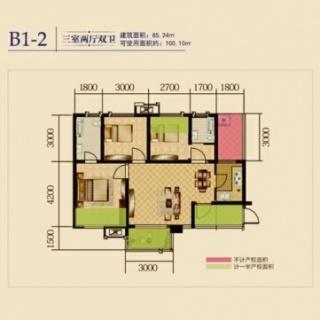 1期4、6栋标准层B1-2户型