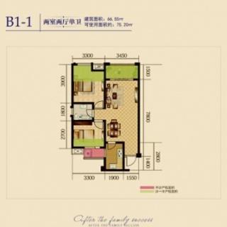 1期4、6栋标准层B1-1户型