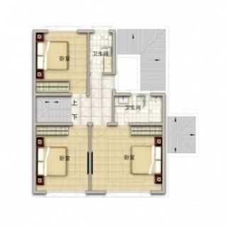 联排别墅190平米户型二层