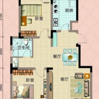 一期洋房3号楼标准层两室户型