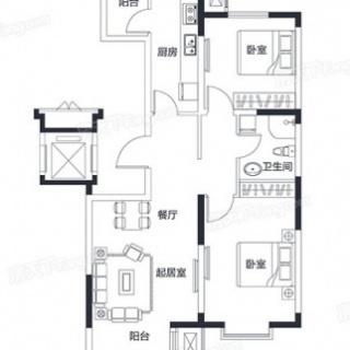 C地块小高层标准层97-100平米户型